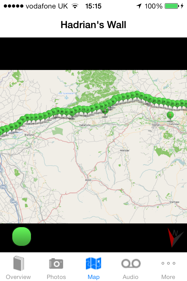 Hadrian's Wall App Map View